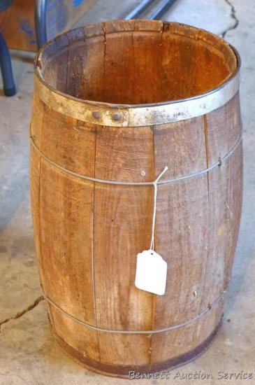 "Vintage wooden nail keg, approx. 11"" x 18"". Appears in good shape."