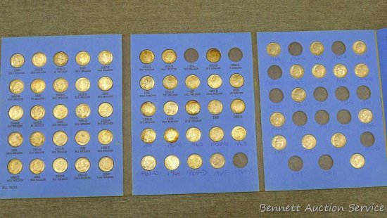 61) Roosevelt silver and clad dimes in book, 1946 to 1981. 1949-S and 1950-S verified, all others