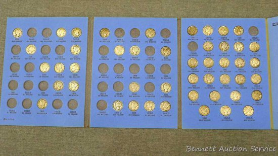 47) silver Mercury dimes in book, 1916 to 1945. Unverified.