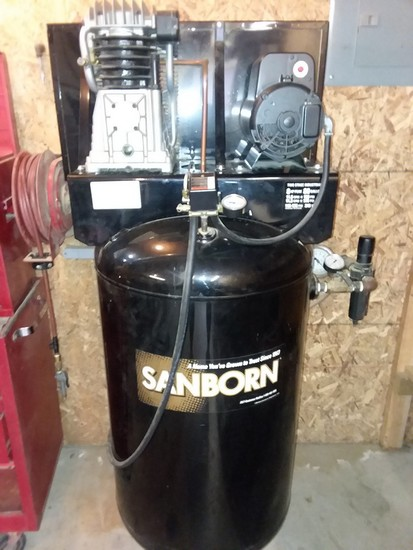 Sanborn dual stage 8 hp air compressor with 80 gallon tank, regulator and gauges.  Great condition.