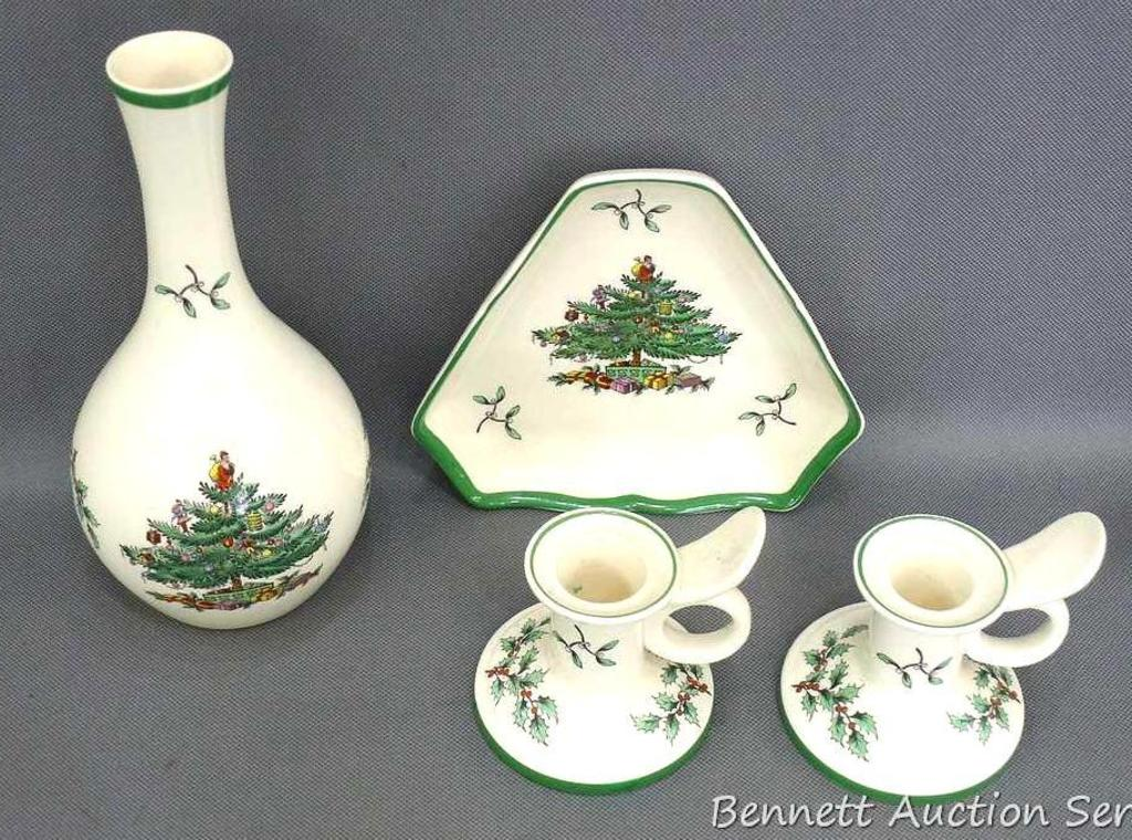Lot Spode Christmas Tree Candle Holders 7 1 2 Vase And