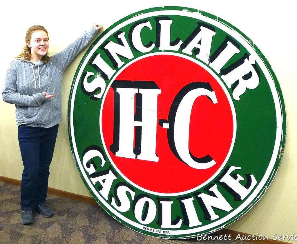 Remarkable double sided Sinclair H-C Gasoline service station sign is 6' in diameter and is in