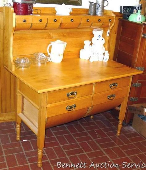 Really cool antique maple or similar baker's counter or cabinet. Has rounded bottom bins and upper