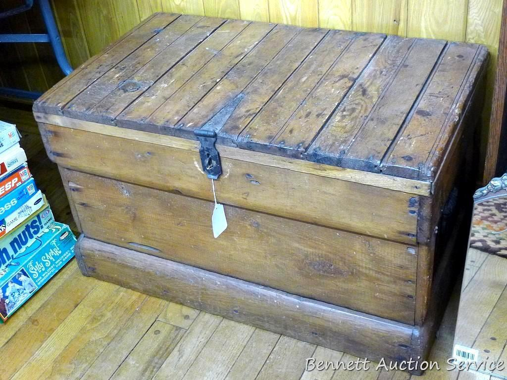 """Rustic wooden trunk; measures 32-1/2"""" x 19"""" x 19"""" tall. Very well made, opens and closes easily."""