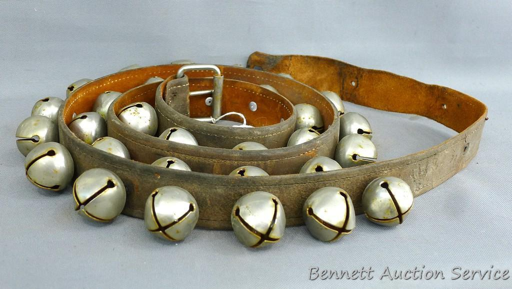 """Sleigh bells mounted on a leather belt, belt is approx 72""""x 1-1/2"""". Sounds delightfully Christmassy."""