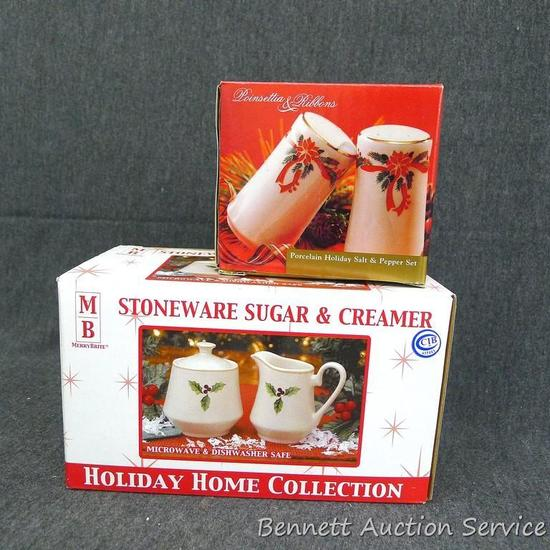 Stoneware sugar and creamer, Poinsetta and Ribbons salt and pepper shakers. Tiny chip or factory