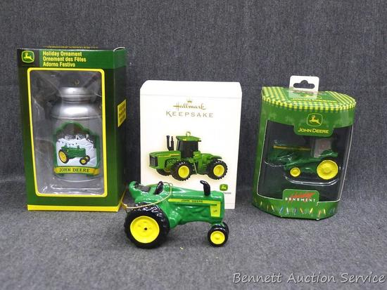 "John Deere tree ornaments, one is Hallmark. One without package is approx 3-1/2"" x 2"" x 2""."