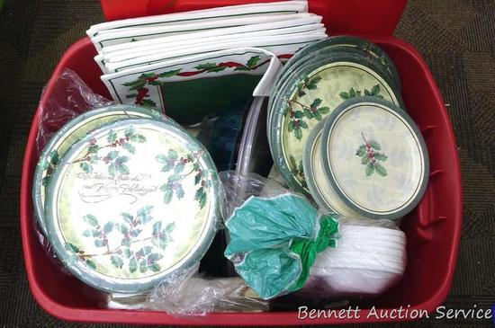 "Tote holds disposable plates, napkins, more. New cloth placemats are about 12"" x 18"". Tote is about"