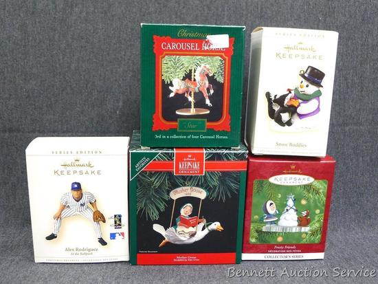 Five Hallmark ornaments include an Alex Rodriguez ornament. Most have packaging, boxes are all about