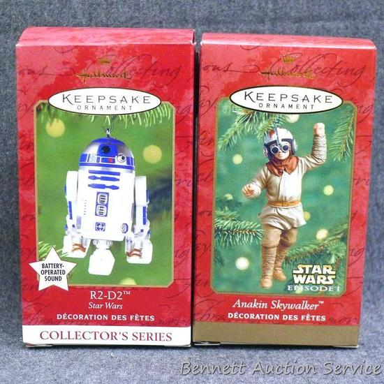Hallmark Keepsake Star Wars ornaments include Anakin Skywalker and R2-D2. Both are wrapped in bubble