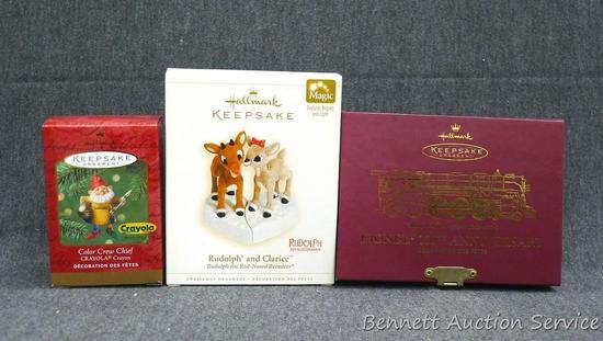 Hallmark ornaments include Lionell 100th anniversary and Rudolph the Red Nosed Reindeer. Lionell box