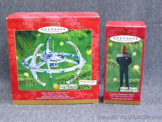 Hallmark Star Trek ornaments include Captain Sisko and Space Station Deep Space 9. Larger box is