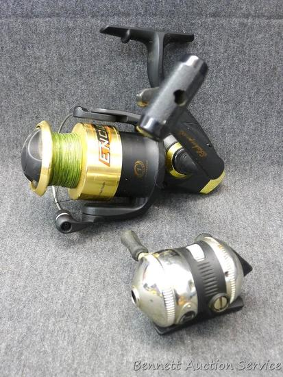 Two fishing reels. One is Shakespeare Encore. One is Zebco mini.