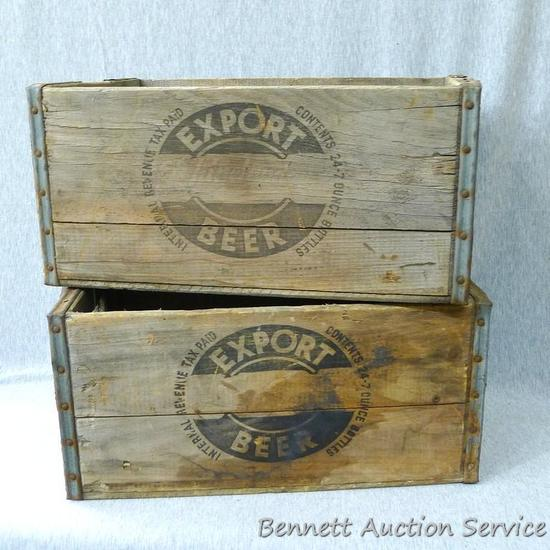 "Two wooden Export Beer crates. See pics. Beer crates are about 16"" x 10"" x 8"" and look to be in good"