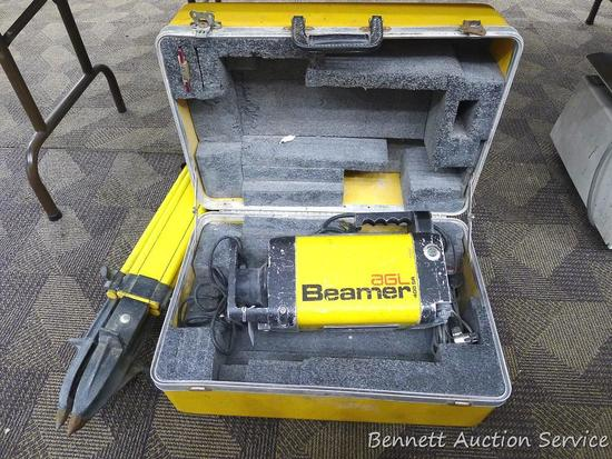 AGL Beamer 400 SR survey transit and tripod, comes with carrying case. Untested, machine measures
