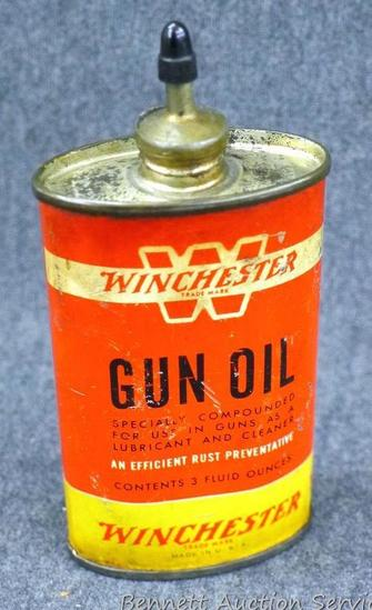 "Vintage Winchester 3 oz gun oil can is 4-1/2"" x 2-1/4"" x 1"". Graphics are nice, cast metal spout,"