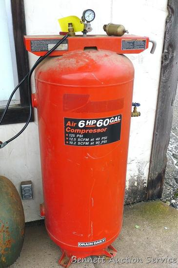 "60 gallon vertical air compressor tank is about 24"" x 21"" x 54"" tall."