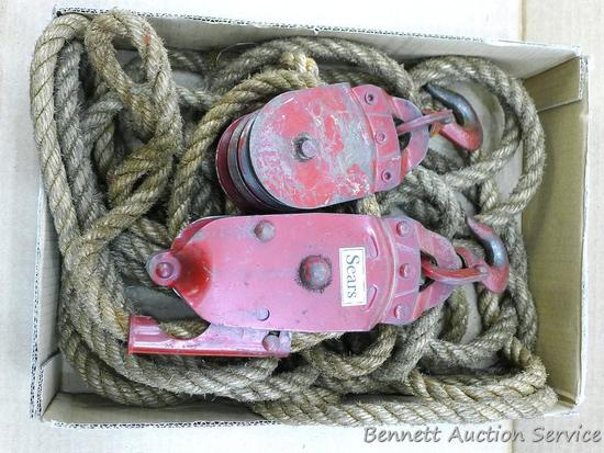 "Six pulley block and tackle set with 1/2"" rope was sold by Sears. Looks heavy duty."