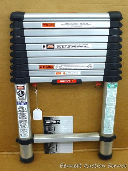 Telesteps Type 1 telescopic ladder Model 1400T, 250 lb working load, 10-1/2' open. Collapses to 28""