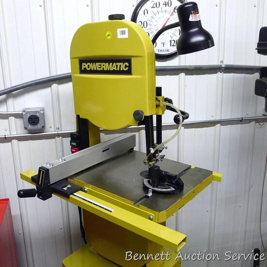 "Powermatic 14"" bandsaw. Model PWBS-14. Motor is 1-1/2 HP. Has quick blade release, dust blower,"