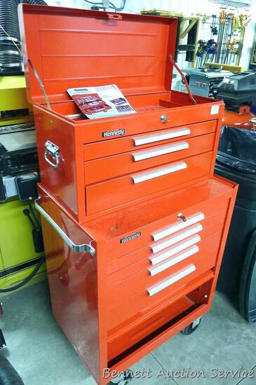 "Kennedy top box and bottom rolling tool chest. Top cabinet has 3 drawers and is 26"" x 12"" x 14"""