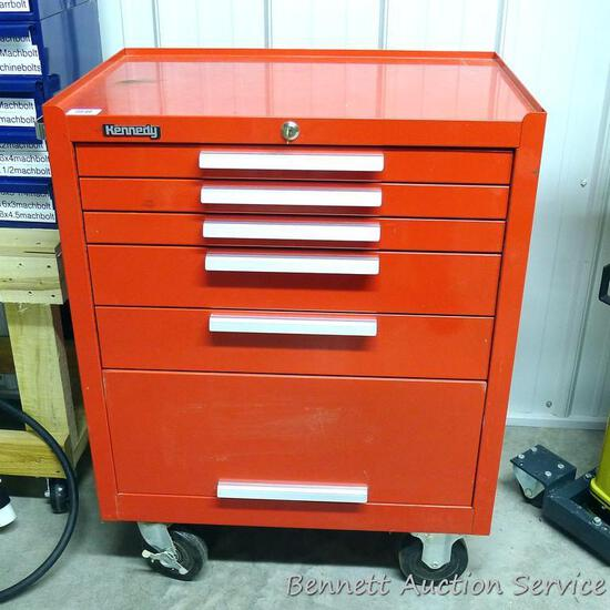 "Kennedy lockable rolling tool chest measures 27"" x 18"" x 36"" tall. Comes with key, has 5 drawers and"