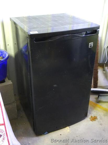 "Kenmore dorm sized refrigerator/freezer is 20"" x 21"" x 34"" tall. Runs and cools. Needs cleaning."