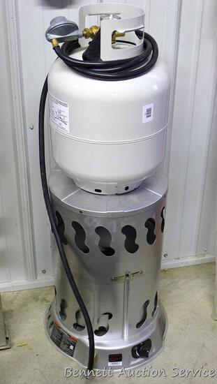 "Propane construction heater with 20 lb. fuel tank partially filled, 21"" tall. Model MH80CVXHS80CVX."