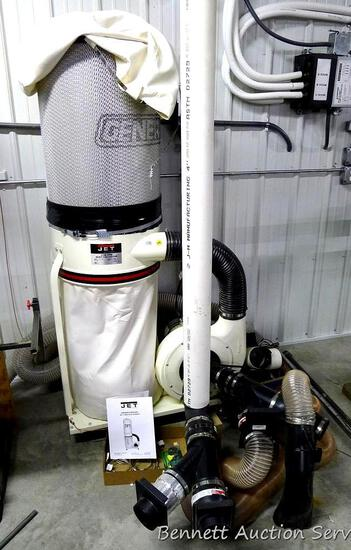 "Jet 1100 CFM Dust Collector, 72"" tall. Model DC-1100A. Includes approx. 100' feet of 4"" tubing, some"