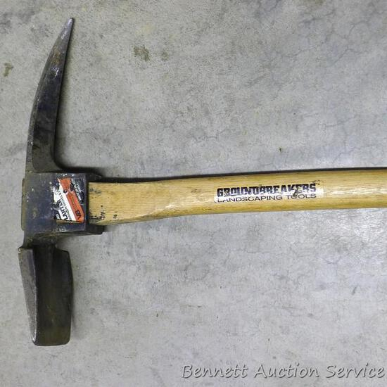 "Groundbreakers brand landscaping tool. Combination head includes grub hoe and pick, 16"" wide, 36"""