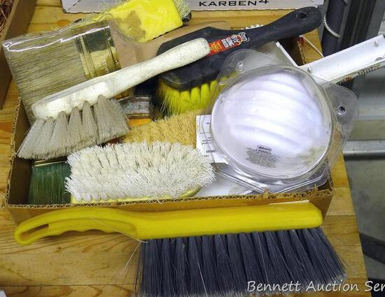 "Scrub brushes; paint brushes; dust masks and more. Largest paint brush is 4"" NIIP."