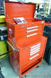 Kennedy top box and bottom rolling tool chest. Top cabinet has 3 drawers and is 26