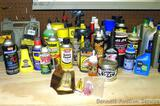 No shipping. Full & partial containers of automotive chemicals including Heet, engine degreaser,