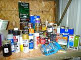 No shipping. Large quantity of full and partial woodworking liquids including linseed oil,