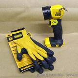 DeWalt 20V Work light has rotating head and LED light, no battery; pair of DeWalt gripper gloves