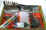 Assortment of drill bits, torque tips and size gauge and more. Some new in package. Milwaukee case.