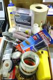 No shipping. Misc. items including tape, Loctite, window tint, pencils, wood filler and more.