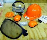 Pelltor hard hat with ear muffs and front face screen. All in good condition.