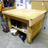 Wooden work table with lower shelf 36