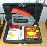 Craftsman hand nailer/stapler. Comes with assorted staples, brad nails and plastic carry case.