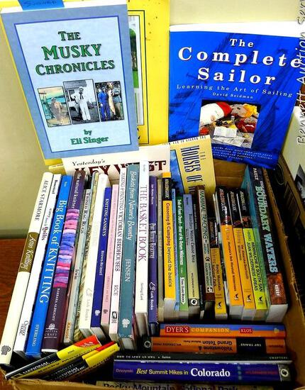 Hobby, crafting, hunting, tracking, etc. books. Titles include signed copy of The Musky Chronicles;