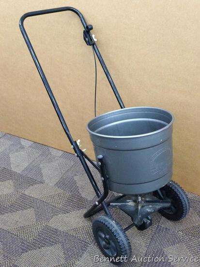 """Broadcast rotary spreader model 76600. Tub size is 12"""" x 12"""". Ready for your spring lawn care."""