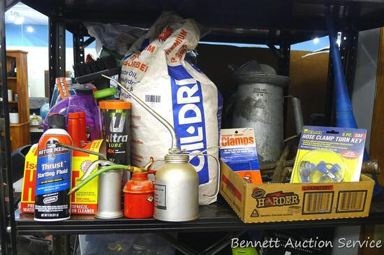 No Shipping. Automobile supplies incl oil dry, starting fluid, oil cans, cleaning supplies, funnel,