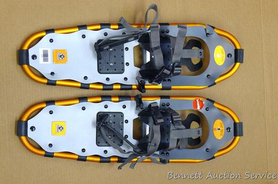 "Yukon Charlie's Sport Series 825 aluminum framed snowshoes are 8"" x 25"" and appear in nice condition"