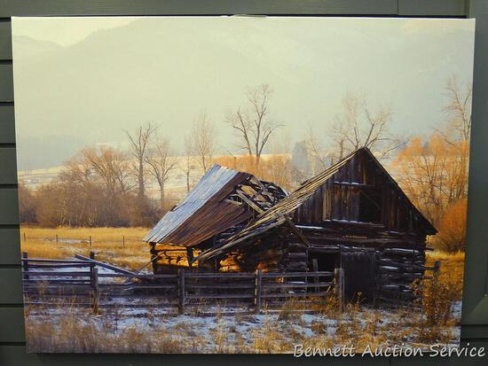 "Stretched canvas print is 32"" x 24"" and appears in good condition."