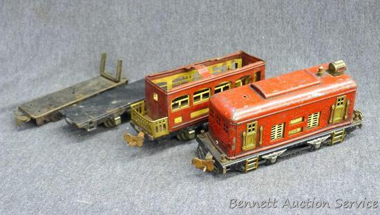 Fancy Lionel O gauge engine has cracked wheels and is ready for restoration. Another similar car,