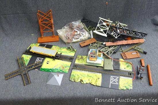 Shoebox full of model railroad stuff - we think it's HO gauge, but are unsure.