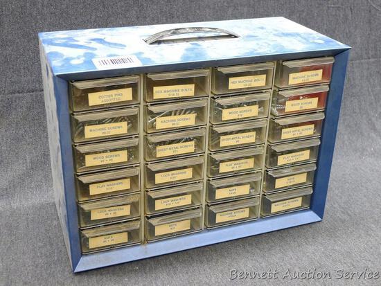 "Metal organizer has cotter pins, sheet metal screws, flat washers and more. Measures 13"" x 6-1/4"" x"