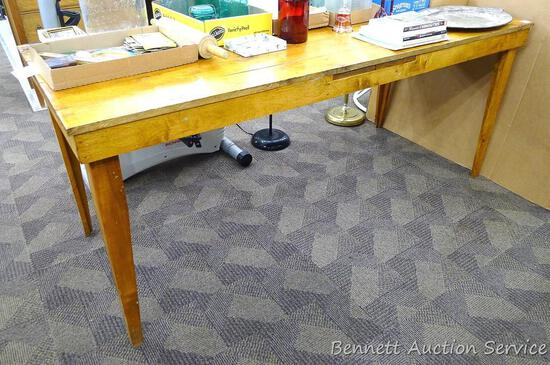 """Solid wood rustic dining table or sturdy work table is in great condition. Measures 73"""" x 30"""" x 31"""""""