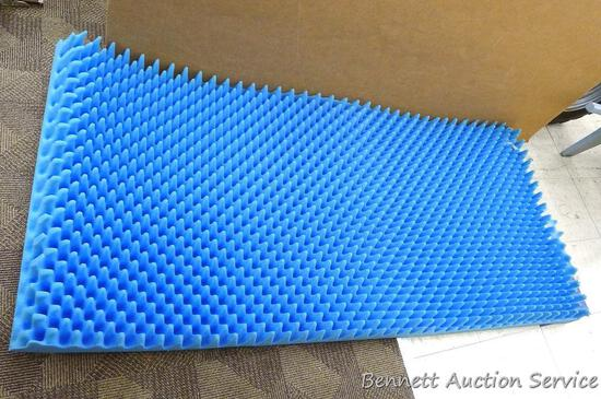 "Egg crate foam sleeping pad is 33"" x 70"" and n very good condition."